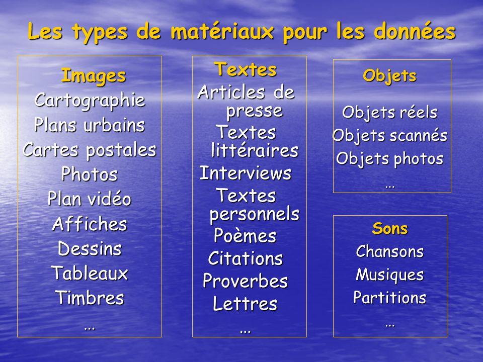 Les types de matériaux pour les données