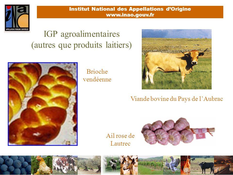 IGP agroalimentaires (autres que produits laitiers)