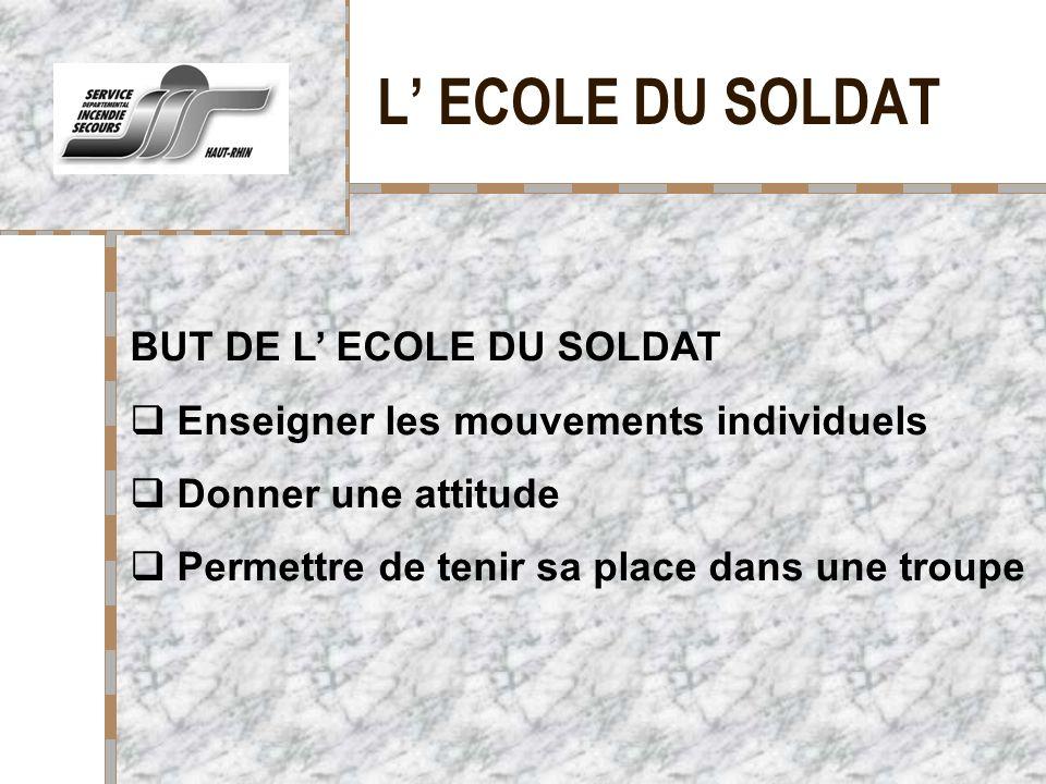 L' ECOLE DU SOLDAT BUT DE L' ECOLE DU SOLDAT