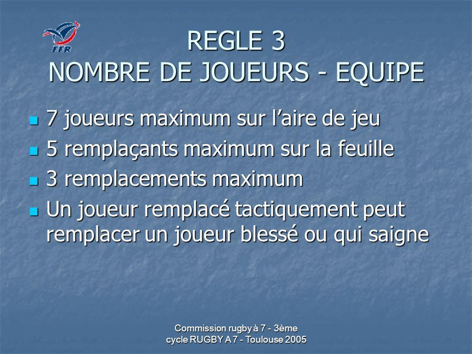 REGLE 3 NOMBRE DE JOUEURS - EQUIPE