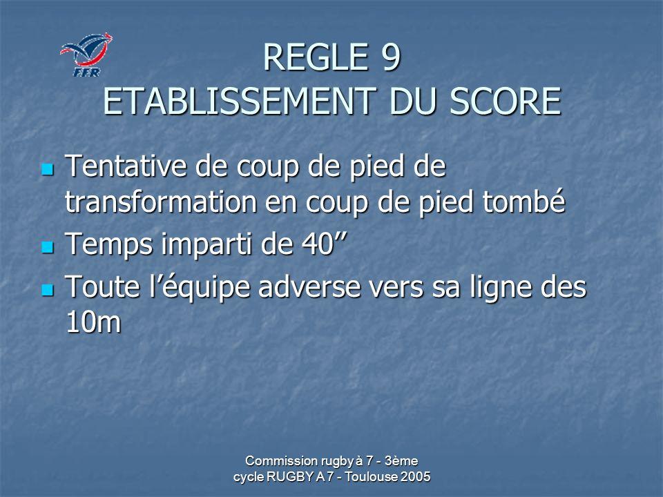 REGLE 9 ETABLISSEMENT DU SCORE