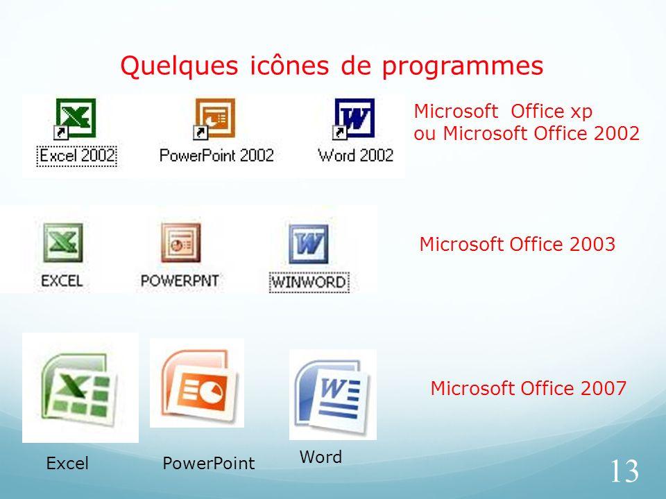 Quelques icônes de programmes