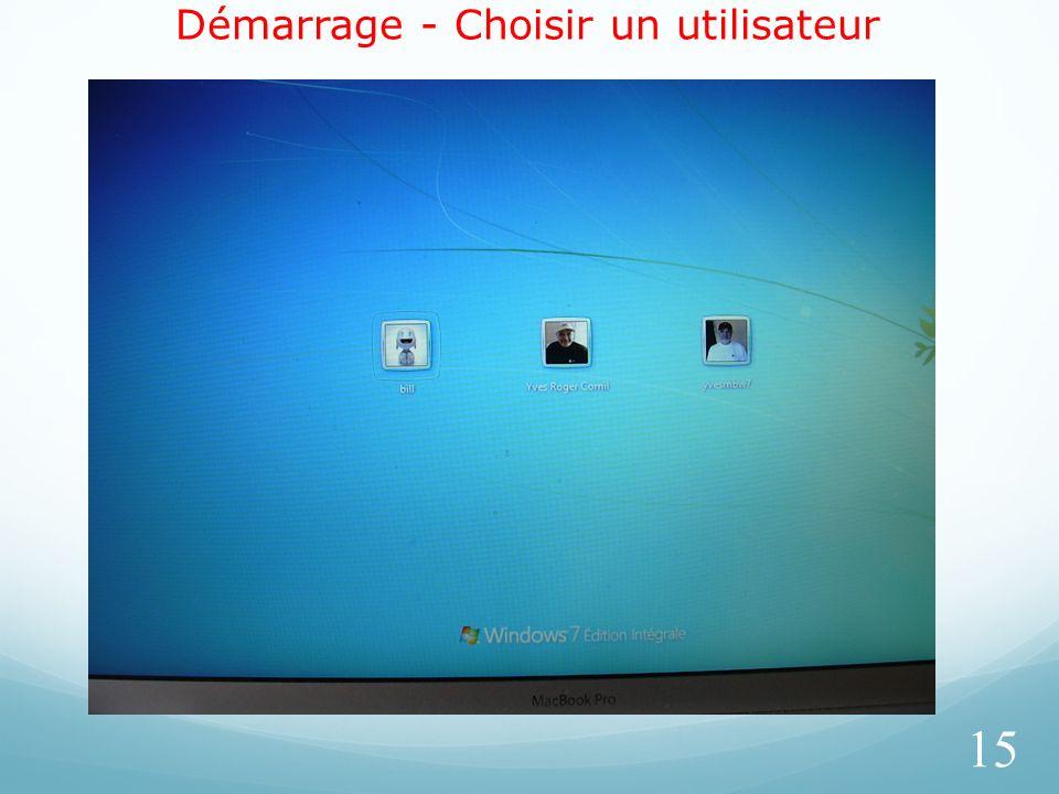 Démarrage - Choisir un utilisateur