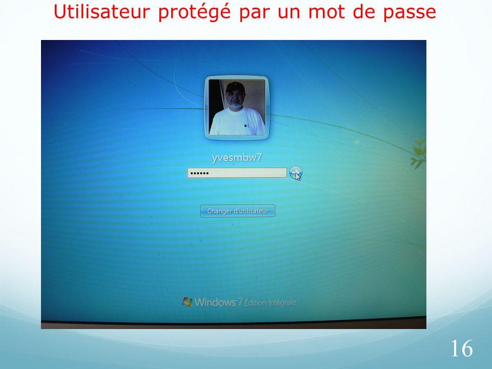 Utilisateur protégé par un mot de passe