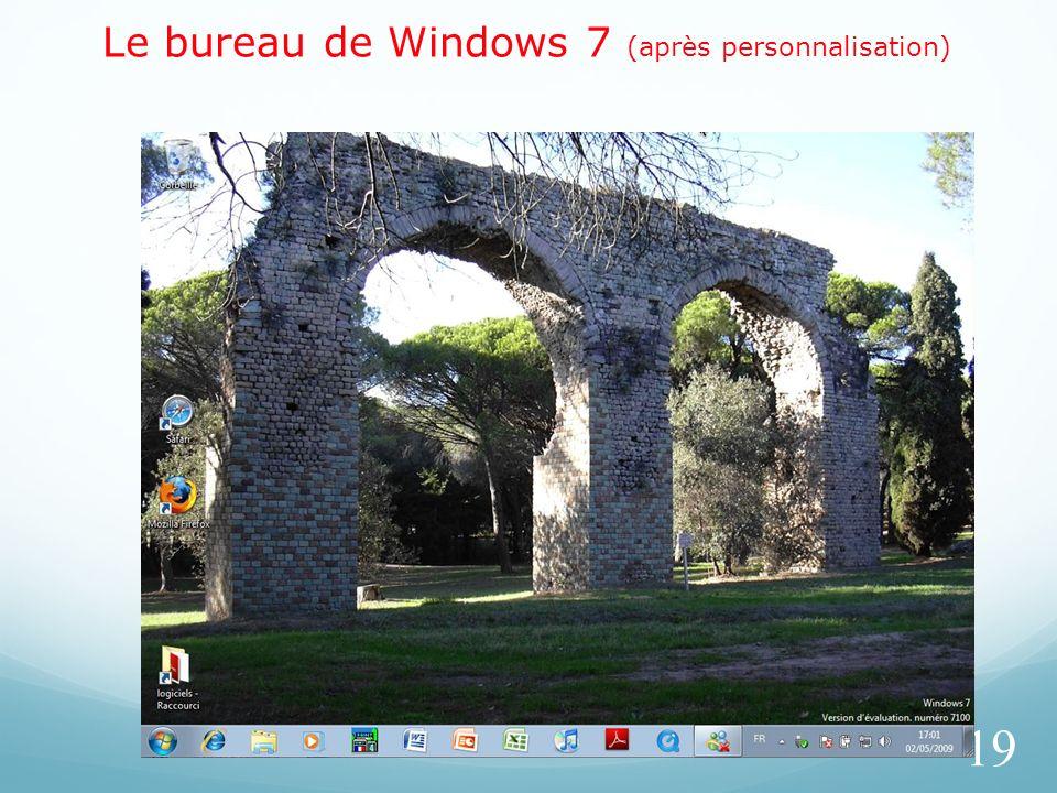 Le bureau de Windows 7 (après personnalisation)