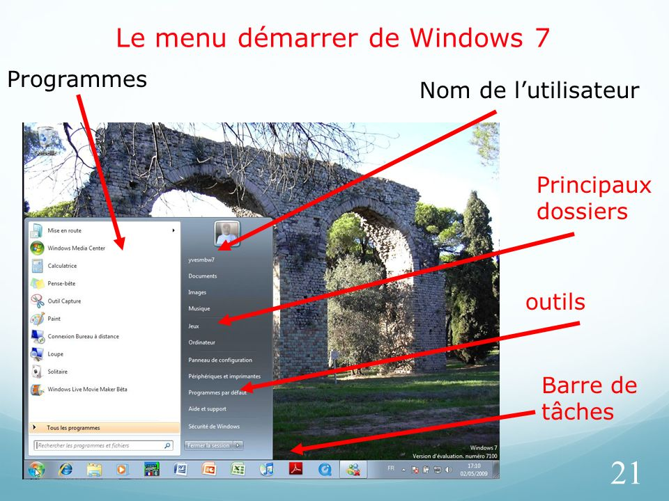 Le menu démarrer de Windows 7