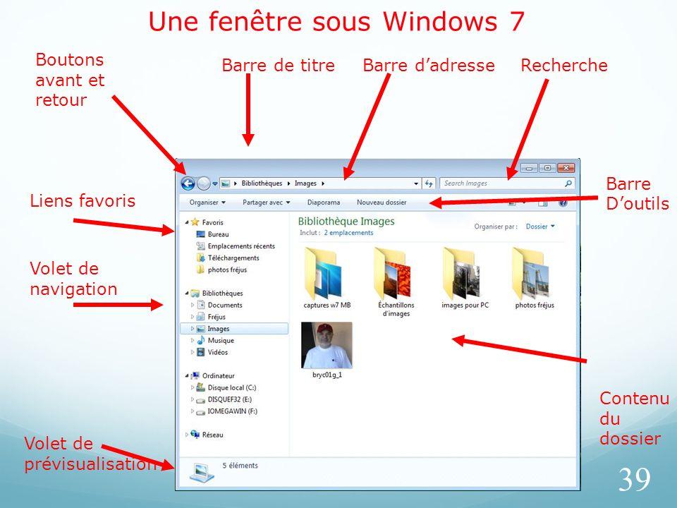 Une fenêtre sous Windows 7