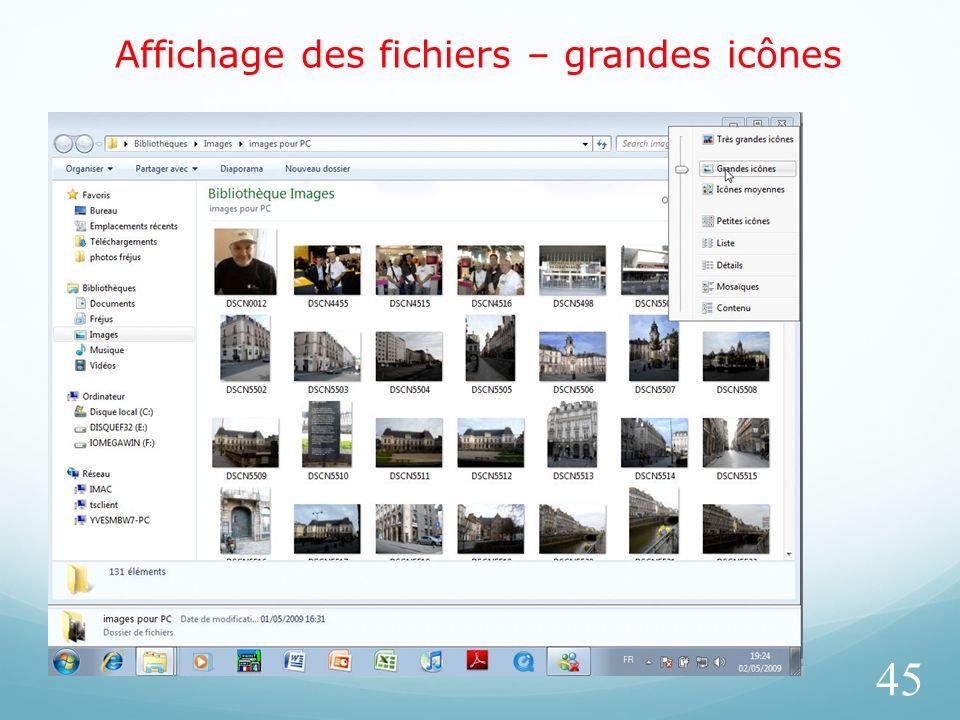 Affichage des fichiers – grandes icônes