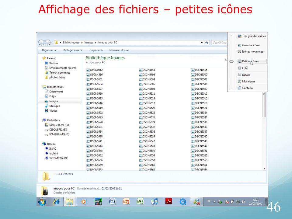 Affichage des fichiers – petites icônes