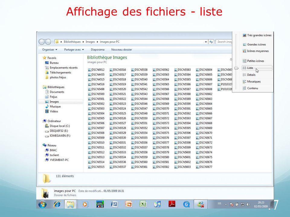 Affichage des fichiers - liste