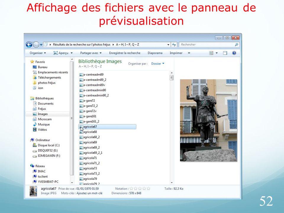 Affichage des fichiers avec le panneau de prévisualisation