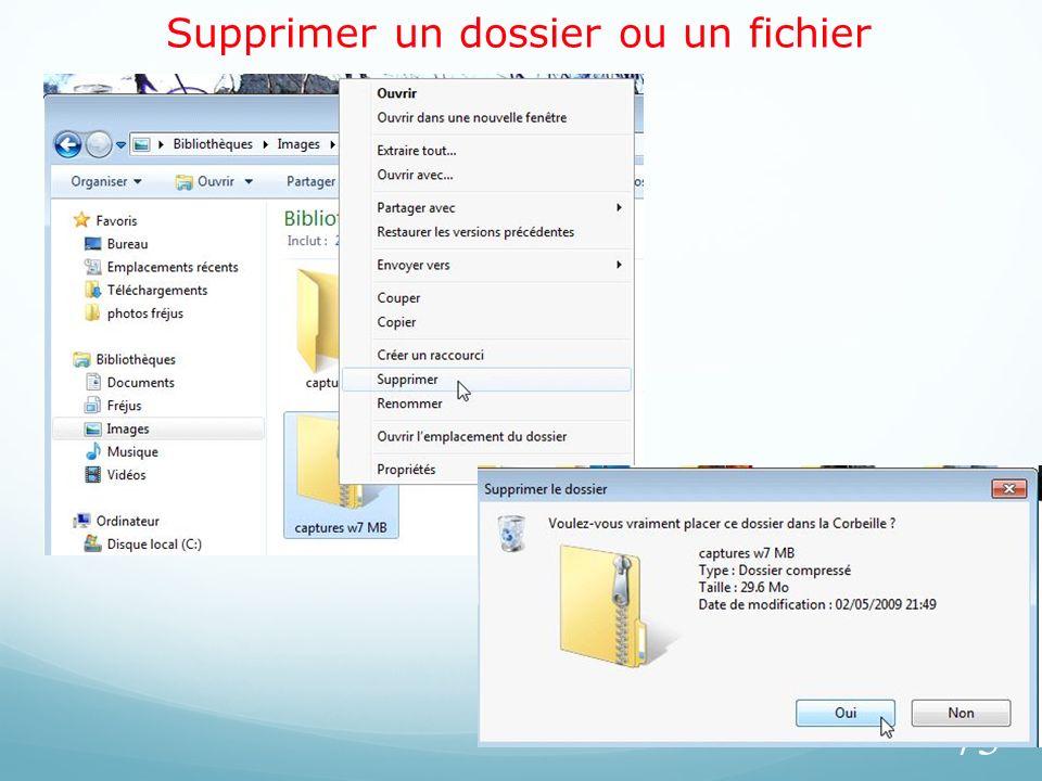 Supprimer un dossier ou un fichier