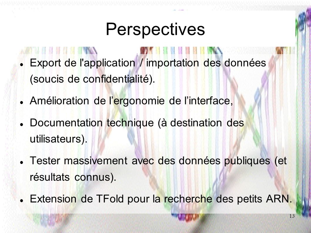 Perspectives Export de l application / importation des données (soucis de confidentialité). Amélioration de l'ergonomie de l'interface,