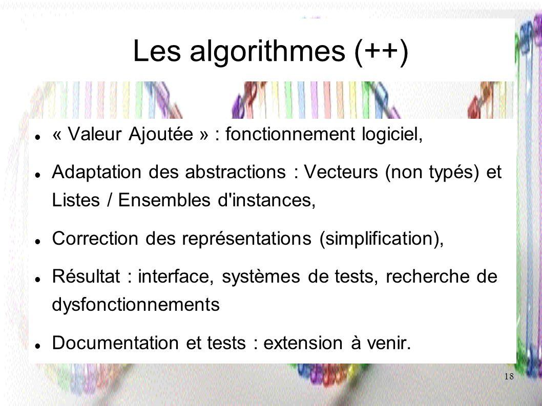 Les algorithmes (++) « Valeur Ajoutée » : fonctionnement logiciel,