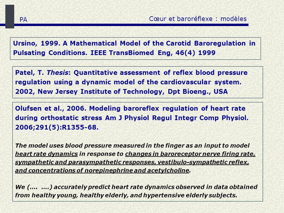 Cœur et baroréflexe : modèles