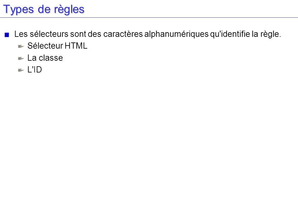 Types de règles Les sélecteurs sont des caractères alphanumériques qu identifie la règle. Sélecteur HTML.