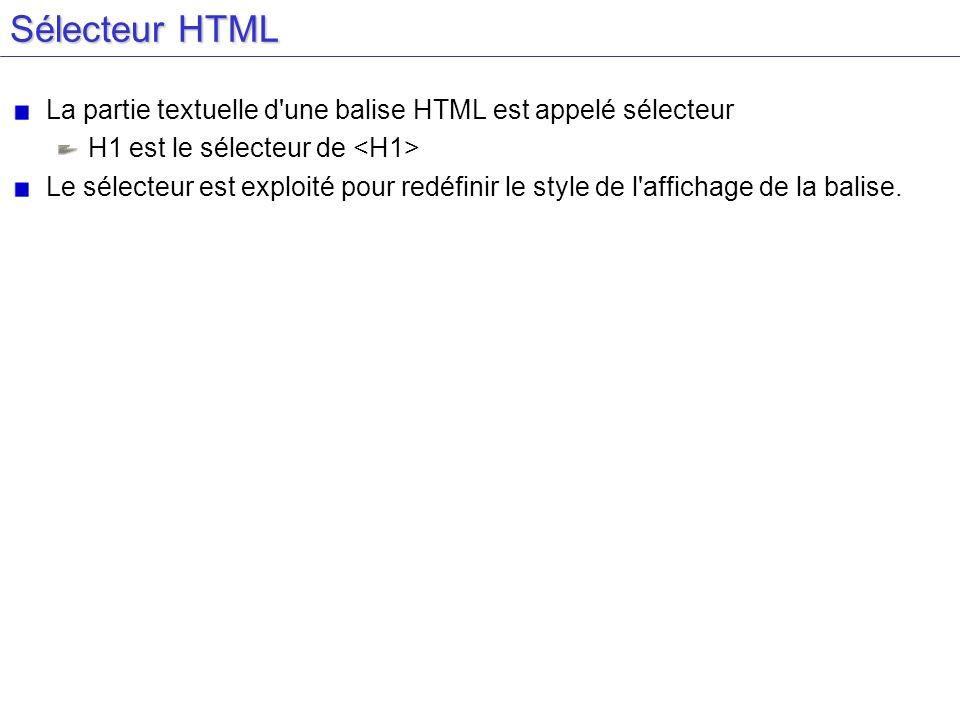 Sélecteur HTML La partie textuelle d une balise HTML est appelé sélecteur. H1 est le sélecteur de <H1>