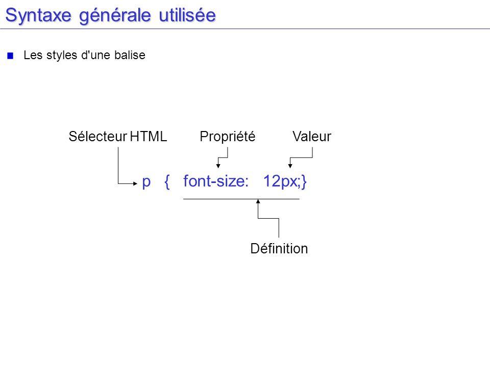 Syntaxe générale utilisée