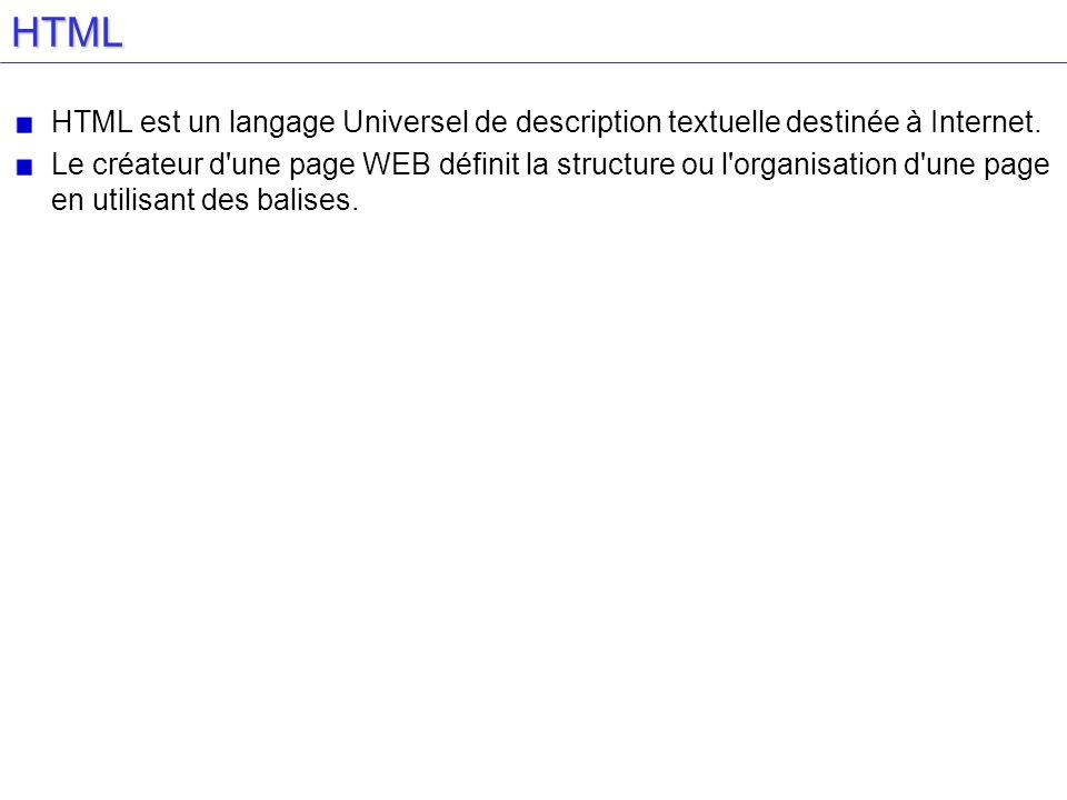 HTML HTML est un langage Universel de description textuelle destinée à Internet.