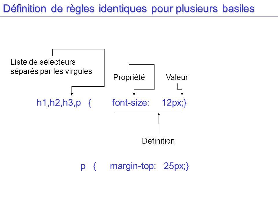 Définition de règles identiques pour plusieurs basiles