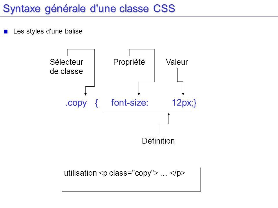 Syntaxe générale d une classe CSS