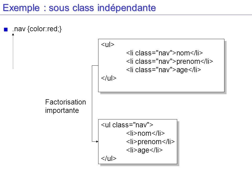Exemple : sous class indépendante