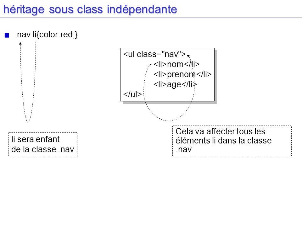 héritage sous class indépendante