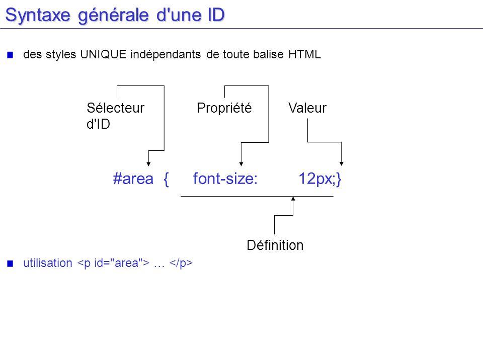 Syntaxe générale d une ID