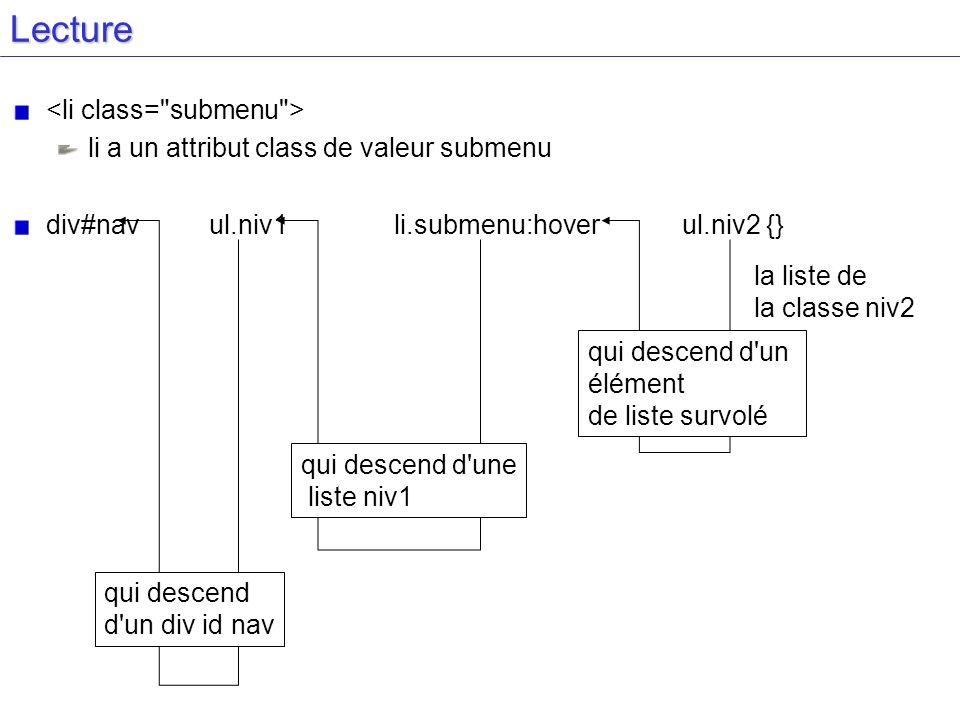 Lecture <li class= submenu >