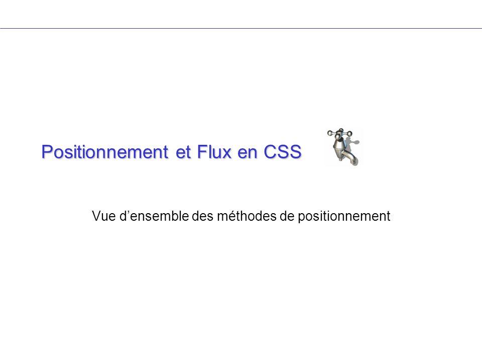Positionnement et Flux en CSS