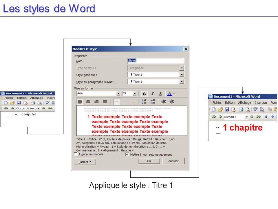Les styles de Word Applique le style : Titre 1