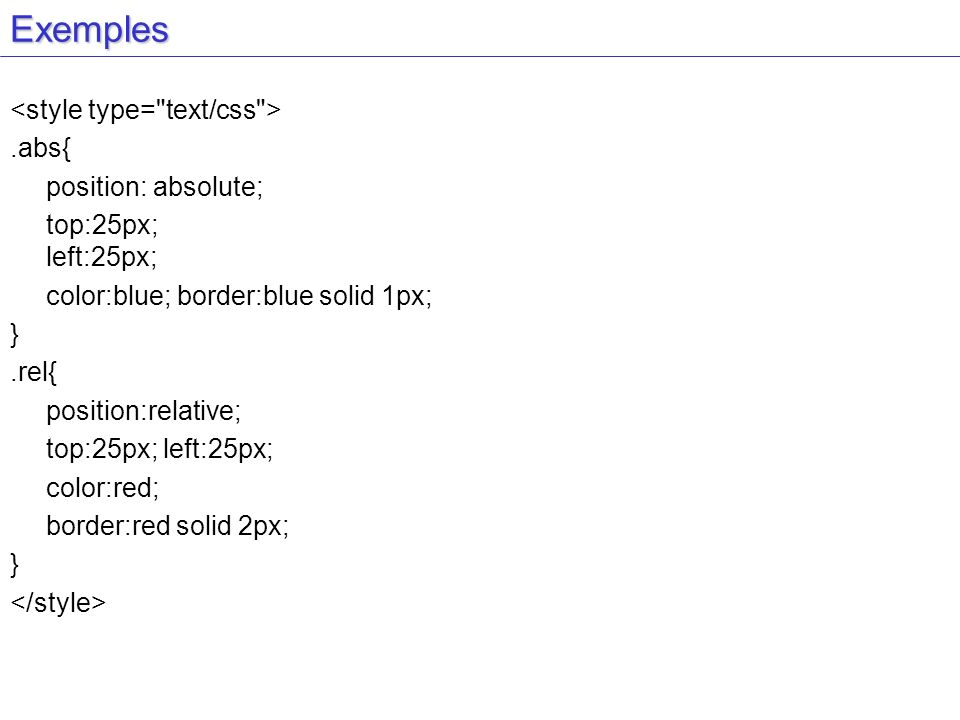 Exemples <style type= text/css > .abs{ position: absolute;