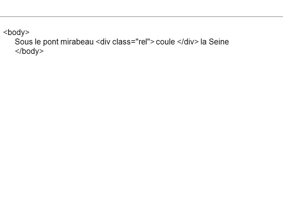 <body> Sous le pont mirabeau <div class= rel > coule </div> la Seine </body>