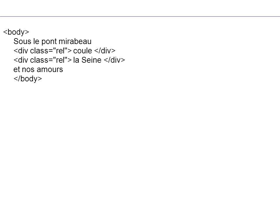 <body> Sous le pont mirabeau <div class= rel > coule </div> <div class= rel > la Seine </div> et nos amours </body>