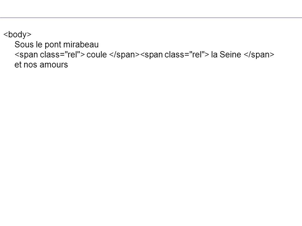 <body> Sous le pont mirabeau <span class= rel > coule </span><span class= rel > la Seine </span> et nos amours