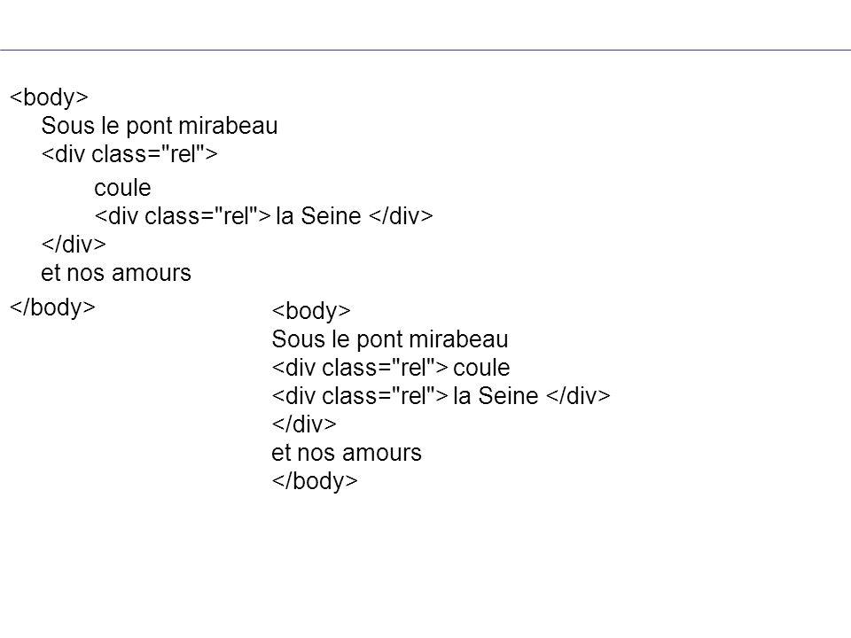 <body> Sous le pont mirabeau <div class= rel >