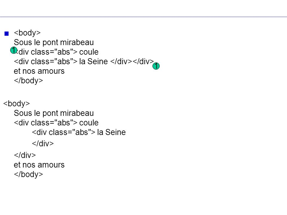 <body> Sous le pont mirabeau <div class= abs > coule <div class= abs > la Seine </div></div> et nos amours </body>
