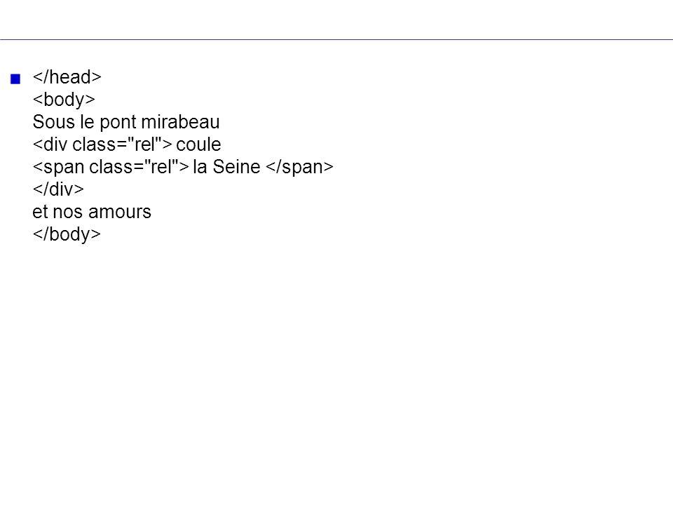 </head> <body> Sous le pont mirabeau <div class= rel > coule <span class= rel > la Seine </span> </div> et nos amours </body>