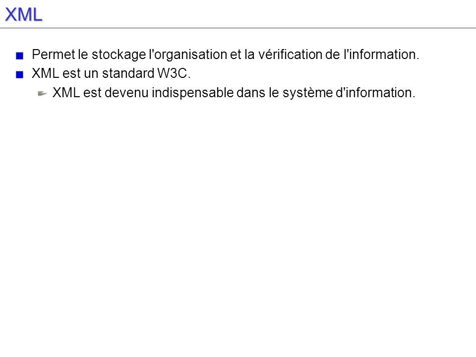 XML Permet le stockage l organisation et la vérification de l information. XML est un standard W3C.