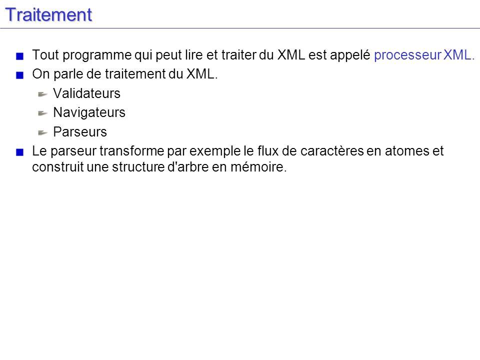 Traitement Tout programme qui peut lire et traiter du XML est appelé processeur XML. On parle de traitement du XML.