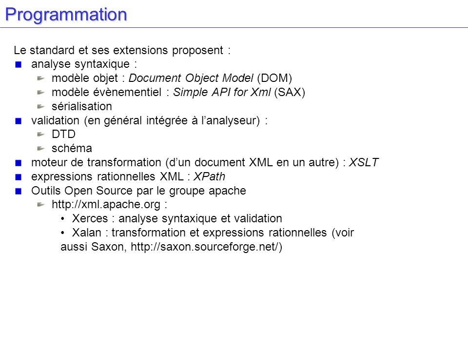 Programmation Le standard et ses extensions proposent :
