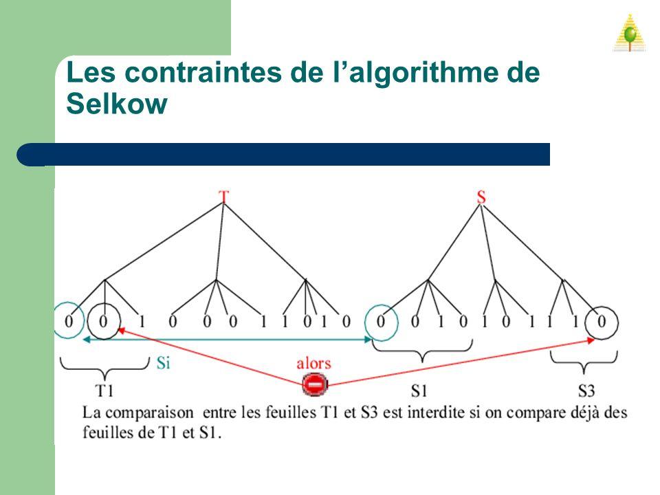 Les contraintes de l'algorithme de Selkow