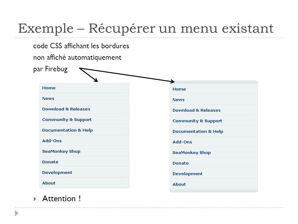 Exemple – Récupérer un menu existant