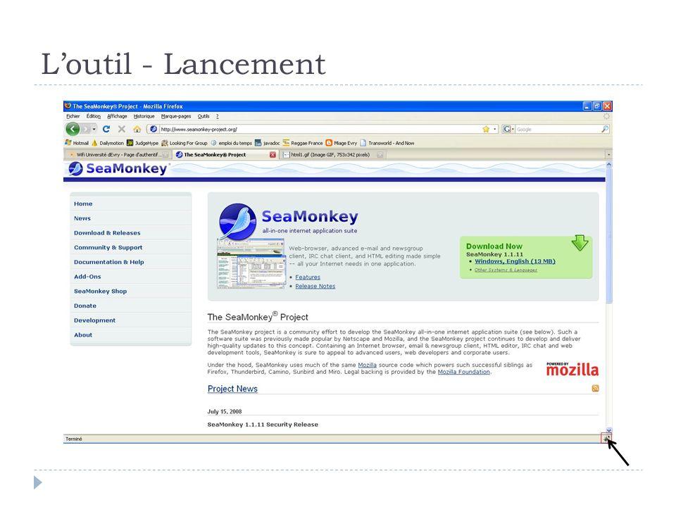L'outil - Lancement