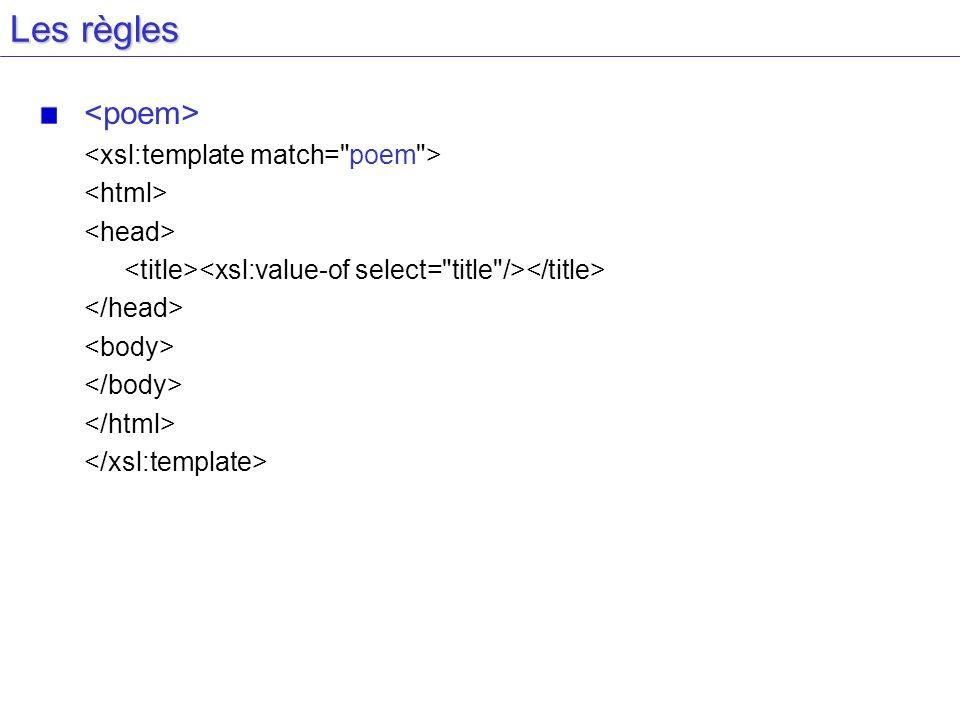 Les règles <poem> <xsl:template match= poem > <html>