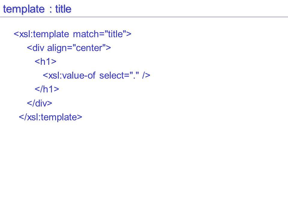 template : title <xsl:template match= title >