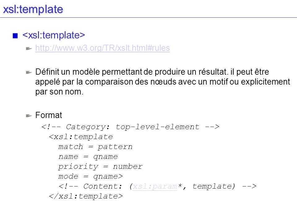 xsl:template <xsl:template> http://www.w3.org/TR/xslt.html#rules