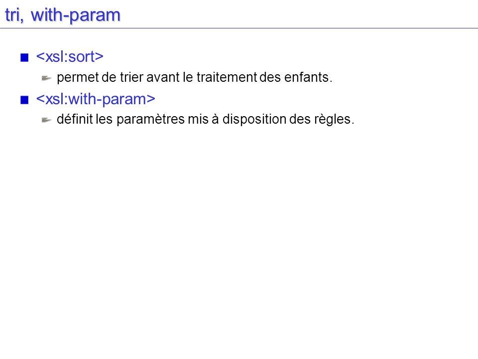 tri, with-param <xsl:sort> <xsl:with-param>