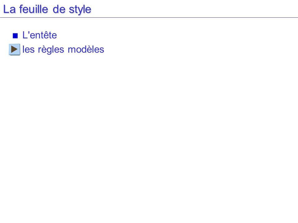 La feuille de style L entête les règles modèles