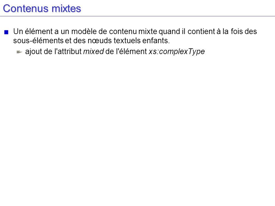 Contenus mixtesUn élément a un modèle de contenu mixte quand il contient à la fois des sous-éléments et des nœuds textuels enfants.